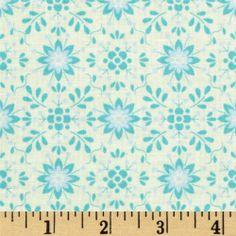 Pretty Little Things Daisy Aqua - Discount Designer Fabric - Fabric.com