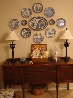 blue and white plate arrangement
