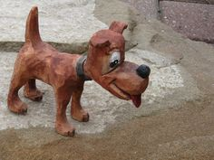 wood carving dog caricature original Vintage by CarlsWoodCarving