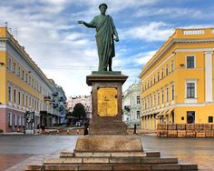 Monument to Duke Richelieu on Primorsky Boulevard, facing the seaport and Potemkin Steps. Part of the UNESCO World Heritage site.