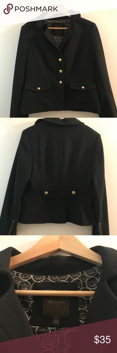 The Limited Black Blazer Size L Professional black blazer with gold buttons down the front, a pleated back with gold buttons and gold zippers on the sleeves. Very good condition. The Limited Jackets & Coats Blazers