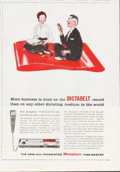 "Description: 1959 DICTAPHONE vintage magazine advertisement ""Dictabelt"" -- More business is done on the Dictabelt record than on any other dictating medium in the world ... The new all-transistor Dictaphone Time-Master -- Size: The dimensions of the half-page advertisement are approximately 7.875 inches x 10.125 inches (20 cm x 25.75 cm). Condition: This original vintage half-page advertisement is in Excellent Condition unless otherwise noted."