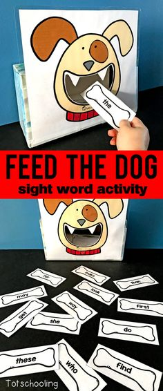 FREE sight word recognition activity for kids to read sight words while feeding bones to the dog. Fun and motivational literacy game for pre-k, kindergarten and first grade kids.