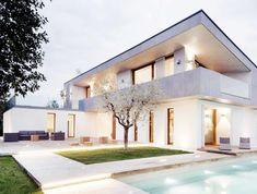 dekorativní fasáda domu paint-bílo-moderní terasa