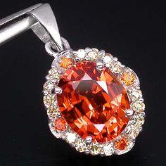 Orange padparadscha sapphire pendant