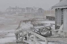 SANDWICH-- 01/27/15-- A deck collapsed at a Town Neck Beach home after the early morning high tide pounded the area as the brunt of the blizzard hit Cape Cod.