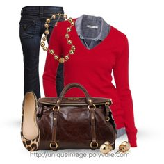 Red sweater, chambray or denim top w/ leopard flats