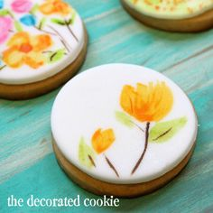 water color cookies! (using food coloring and fondant or royal icing)