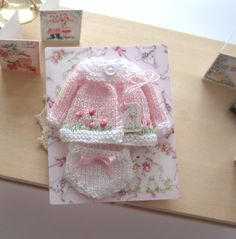 dollhouse baby knitted outfit matinee coat and pants embroidered 12th scale miniature by Rainbowminiatures on Etsy