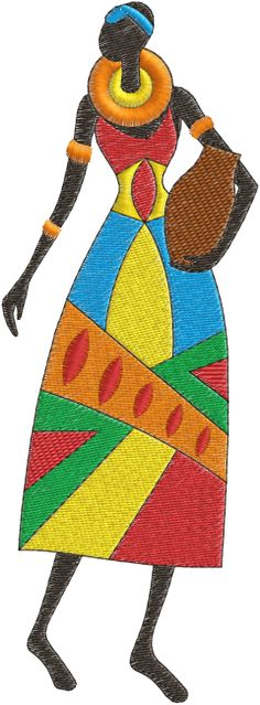 African Lady Embroidery Design No. African Beauty, African Women, African Fashion, African Quilts, Art Tribal, African Paintings, African Theme, Art Africain, Africa Art