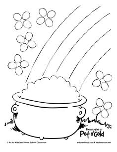 finger paint a pot o gold - Coloring Pages Rainbow Pot Gold