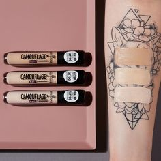 "our new ""camouflage +"" concealer range comes with 3 matt shades 😍 they are waterproof & have a super high coverage! 😱 check out our insta story highlight ""august update"" for a first swatch & impression 💖 Drugstore Concealer, It Cosmetics Concealer, Makeup Dupes, Makeup Geek, Camouflage Makeup, Camouflage Concealer, Essence Makeup, Essence Cosmetics, Eye Candy Makeup"