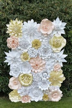 Paper Flower Backdrop for Weddings and Events-Paper Flowers-Paper Flower Decorations-Paper Flower wall-Coral,Dolomite,Ivory-Custom Order