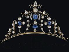 Antique Tiara (ca. 1880; sapphires, diamonds, white gold).