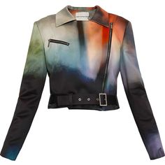 MARY KATRANTZOU Rainbow Satin Biker Jacket ($690) ❤ liked on Polyvore featuring outerwear, jackets, tops, coats, zip jacket, belted jacket, cropped moto jacket, cropped biker jacket y cropped motorcycle jacket