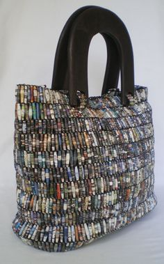 handmade bag, made from beads hand-rolled from recycled magazine paper...