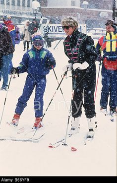 Princess Diana and Prince William skiing at the Austrian ski resort of Lech Stock Photo