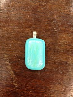 Blue fused glass pendant on Etsy, $15.00