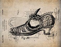 Antique Victorian chaussure Illustration vieux écrit Digital Download de Papercrafts, transfert, oreillers, etc., toile de jute n° 1689