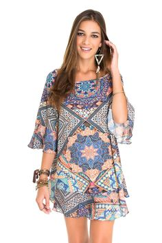 vestido amplo estampa festival bordada | Dress to