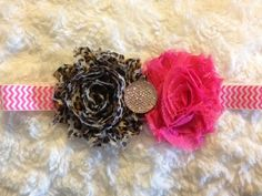 Cheetah and Pink Shabby Flower Baby Girl Infant by HannahHeadbands, $8.00