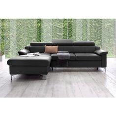 Canapé d'angle méridienne fixe à droite ou à gauche avec tétières, aspect cuir