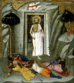 Andrea di Bartolo - This artwork painted during the gothic period is based on the ressurection of Christt. The artwork shows Christ waling out of his tomb with the wounds he bear , and holding a flag beside him. Before him, the fainted bodies of the Guarding soldiers on the ground.