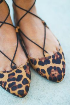 These amazing Leopard Lace Up Ballet Flats are simply GORGEOUS! So many cute details: leopard print and lace up straps - you're guaranteed to get noticed. Step into a fierce world with these amazing n