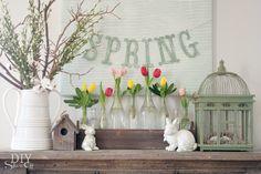 Spring mantel, love this!!   |via @DIY Show Off