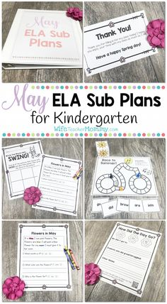 Kindergarten Sub Plans for May! These spring and end-of-year themed sub plans are perfect for the month of May! The monthly themes are so engaging and fun for kids. Kindergarten students will love these activities and you can rest easy knowing they are busy with meaningful ELA activities while you are away. Themes in the activities and sub plan lessons include: springtime, flowers, Mother's Day, end of the year, and looking forward to summer vacation!