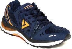 SEVEN Poseidon Patriot Blue & Orange Peal Running Shoes  #SEVEN, #RunningShoes, #Stylish