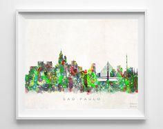 Sao Paulo Skyline Watercolor Print