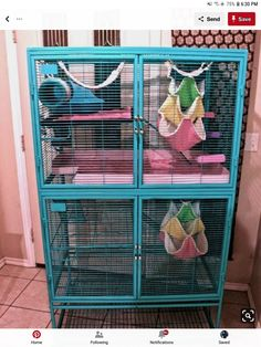 """rustoleum painters touch in """"seaside"""" ------------------------------------------ Love the idea of painting the critter nation cage! Thankfully my rats don't chew the bars since upgrading their cage so hopefully this will become an option in the future :) Pet Rat Cages, Hamster Cages, Pet Cage, Ferrets Care, Cute Ferrets, Cute Rats, Ferret Nation Cage, Critter Nation Cage, Rat Toys"""