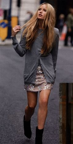 Add some sparkle to your fall wardrobe - try pairing a sequined skirt with a classic cardi and booties.