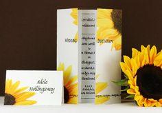 Sunflower Wedding Invitation On Gatefold by WeddingStationeryDes