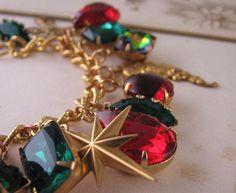 CHRISTMAS STAR charm bracelet with vintage by @Shadow http://etsy.me/pdgfyL #charm_bracelet $48