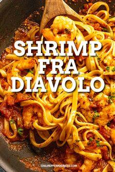 Italian Shrimp Recipes, Spicy Shrimp Recipes, Seafood Pasta Recipes, Shrimp Recipes For Dinner, Shrimp Pasta Recipes, Shrimp Dishes, Easy Pasta Recipes, Pasta Dishes, Cooking Recipes