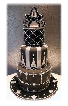 Sparkling Black And Grey Designer Cake