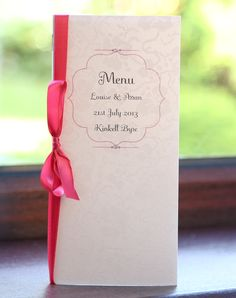 Antique Menu in Ivory & Raspberry - Vintage Wedding Stationery Scotland - VOWS Award Nominee 2013