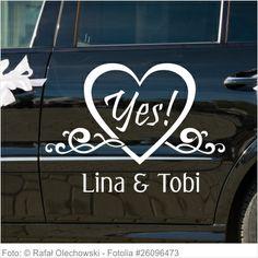 Autoaufkleber Hochzeit - Yes mit Namen