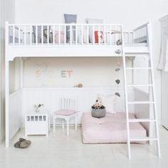 Oliver Furniture Hochbett / Loft Bett KIDS, Weiß, 90x200cm, Höhe: 176cm
