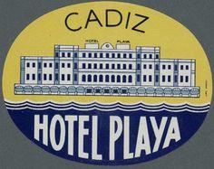 [Etiquetas de hoteles de Cádiz]. Grabado — 1920-1960 Antiguo hotel playa victoria
