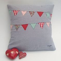 Dark/contrasting thread on non-white background--Bunting Cushion by Honeypips on Not on the High Street
