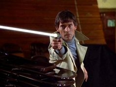 """Ok, so yeah, this is JB with a blaster-kind-of-gun in """"Galactica 1980."""""""