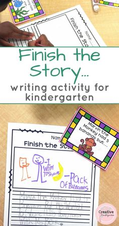 Finish the story writing activity for kindergarten. Great for literacy centers, writing centers and writer's workshop. Help students write their own stories using different story elements like characters, setting, problem and solution).