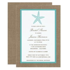 284 best beach bridal shower invitations images on pinterest turquoise starfish beach burlap bridal shower invitation filmwisefo