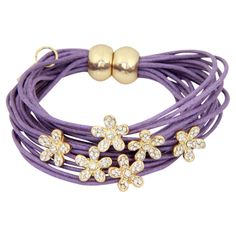 Bracelet in purple with flower charms