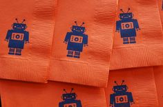 Customized robot napkins made using rubber stamp from bunnycakes.typepad.com