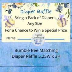 Baby Shower Diaper Raffle Bumble Bee Motif wii delight your family and friends on your special day. Adorable bumble bees with coral watercolor florals. Part of a baby shower bundle package Custom Baby Shower Invitations, Personalized Invitations, Personalized Items, Coral Watercolor, Pack Of Diapers, Bumble Bees, Diaper Raffle, Pattern Paper, Special Day