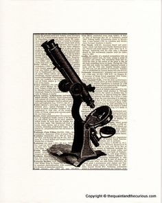 Microscope Art Print-  Chemistry Biology Medical Science Anatomy Decor - Picture Gift Present Home Office Decor - MATTED